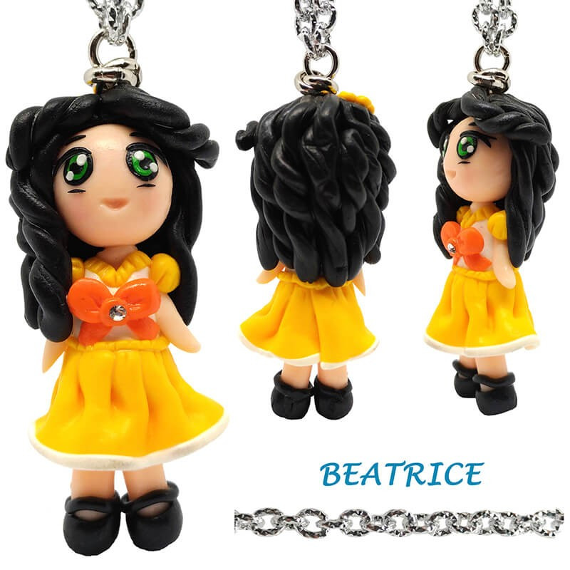 """Necklace with """"Beatrice"""" Kawaii doll hand made with rhinestone in Fimo - yellow"""