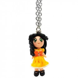 """Necklace with """"Beatrice"""" Kawaii doll hand made with rhinestone in Fimo - yellow - front"""