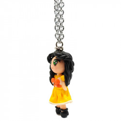 """Necklace with """"Beatrice"""" Kawaii doll hand made with rhinestone in Fimo - yellow - oblique"""