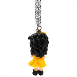 """Necklace with """"Beatrice"""" Kawaii doll hand made with rhinestone in Fimo - yellow - back"""