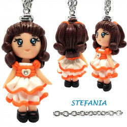 "Necklace with ""Stefania"" Kawaii doll hand made with heart and rhinestone in Fimo - Orange"