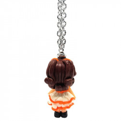 "Necklace with ""Stefania"" Kawaii doll hand made with heart and rhinestone in Fimo - Orange - back"