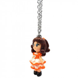 "Necklace with ""Stefania"" Kawaii doll hand made with heart and rhinestone in Fimo - Orange - lateral"