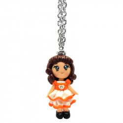 "Necklace with ""Stefania"" Kawaii doll hand made with heart and rhinestone in Fimo - Orange - front"