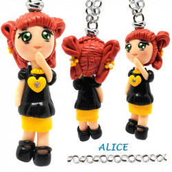 "Necklace with ""Alice"" Kawaii doll hand made with heart in Fimo - Yellow"