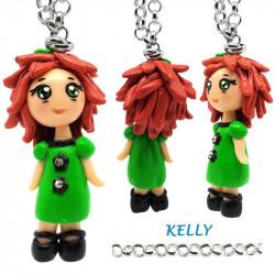 "Collana con Bambolina ""Kelly"" Kawaii fatta a mano - Verde in Fimo"
