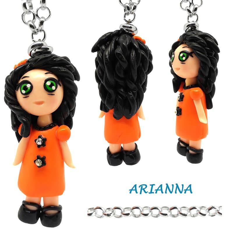 "Collana con Bambolina ""Arianna"" Kawaii fatta a mano - Arancione in Fimo"