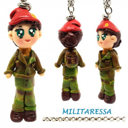 "Necklace with ""Militaressa"" Kawaii doll hand made in Fimo - Military"