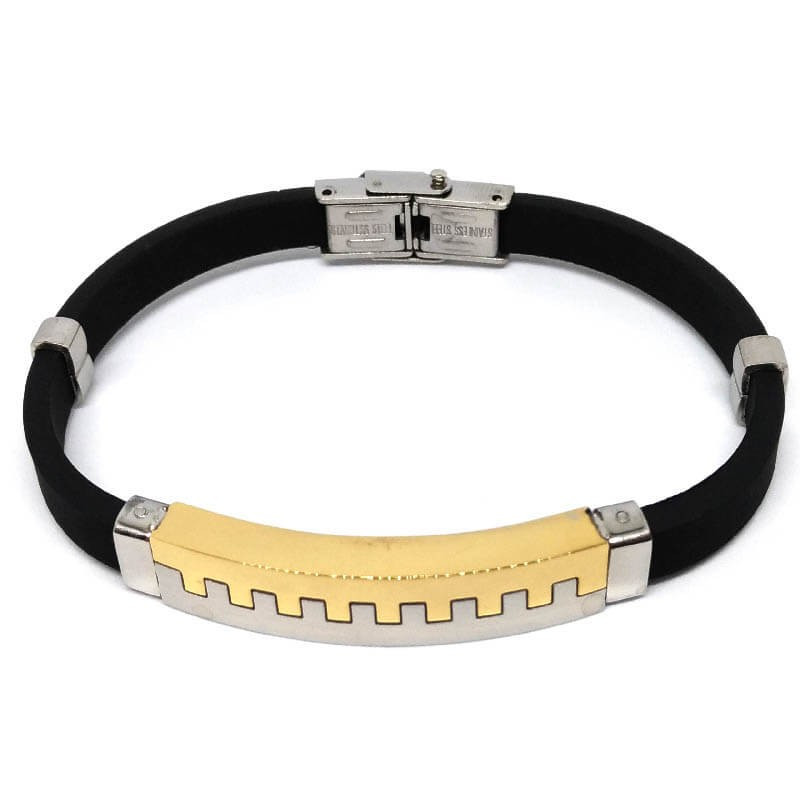 Men's bracelet in stainless steel and rubber