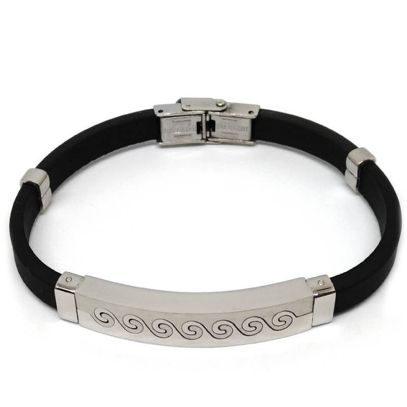 design senza tempo 90661 c8197 Men's bracelet in stainless steel and rubber with symbol waves of the sea