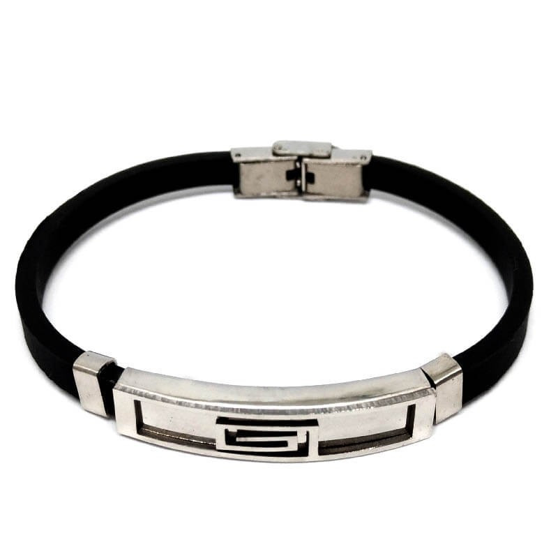Men S Bracelet In Stainless Steel And Rubber