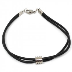 Man steel bracelet and rubber cord
